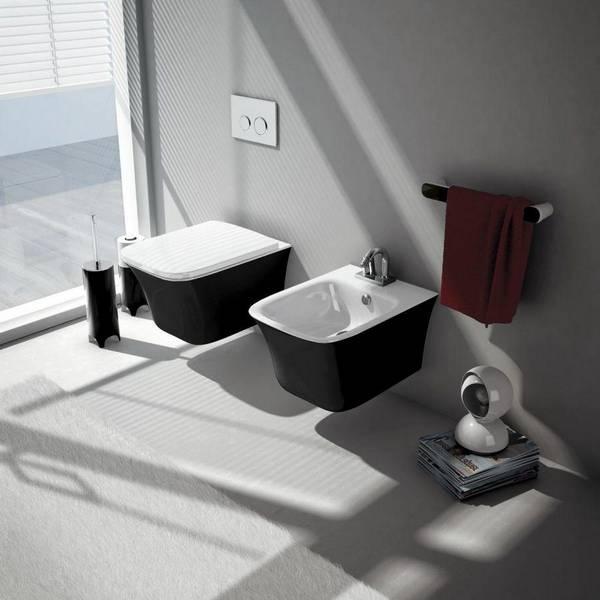 Черный унитаз: в интерьере фото, подвесного цвета, белый