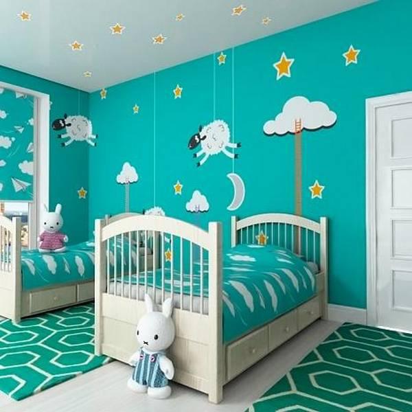 Оформление стены в детской спальне своими руками 70